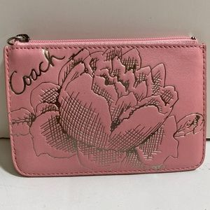 COACH Jewel Madison Skinny Pink Leather Coin Case